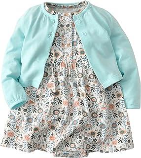 De feuilles Chic-Chic Ensemble Fille Bébé 2pc Mini Robe Manches Courte+ Cardigan Tricot Imprimé Floral Vintage Pincesse Pr...