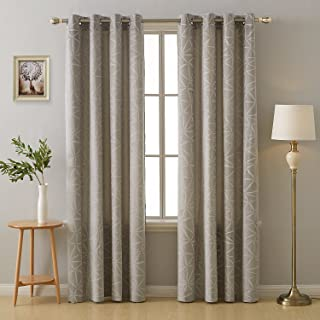Deconovo Embossed Thermal Insulated Curtains Grommet Top Geometry Triangle Print Room Darkening Window Curtains for Nursery Room 52W x 84L Inch Taupe 2 Panels