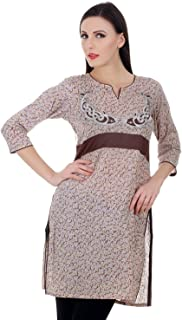 Devaleena Creations Brown Printed Kurta with Dolphin motif Embroidered for Ladies