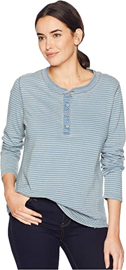 Washed Indigo Classic Stripe Long Sleeve Button Henley with Side Rib Inset