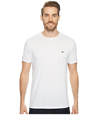 Lacoste Short Sleeve Pima Crew Neck Tee (White) Men