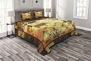 Ambesonne African Bedspread, Patchwork Inspired Pattern Grunge Vintage Featured Elephants Trees Roses Print, Decorative Quilted 3 Piece Coverlet Set with 2 Pillow Shams, King Size, Pale Brown