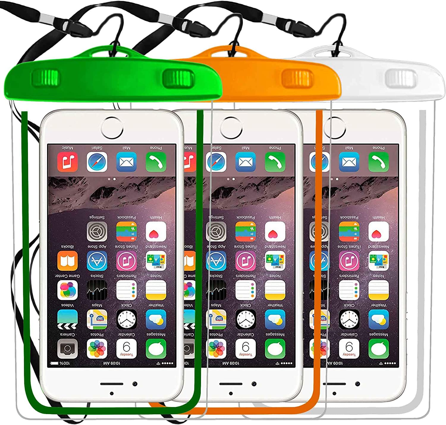 3-Pack Universal Waterproof Case, Cellphone Dry Bag Pouch Compatible with iPhone 11 PRO MAX X XS MAX XR 8,7 6S,6,6S Plus,SE,5S,Galaxy s9,s8,S7,S6 Edge Note 7 5, up to 6.3