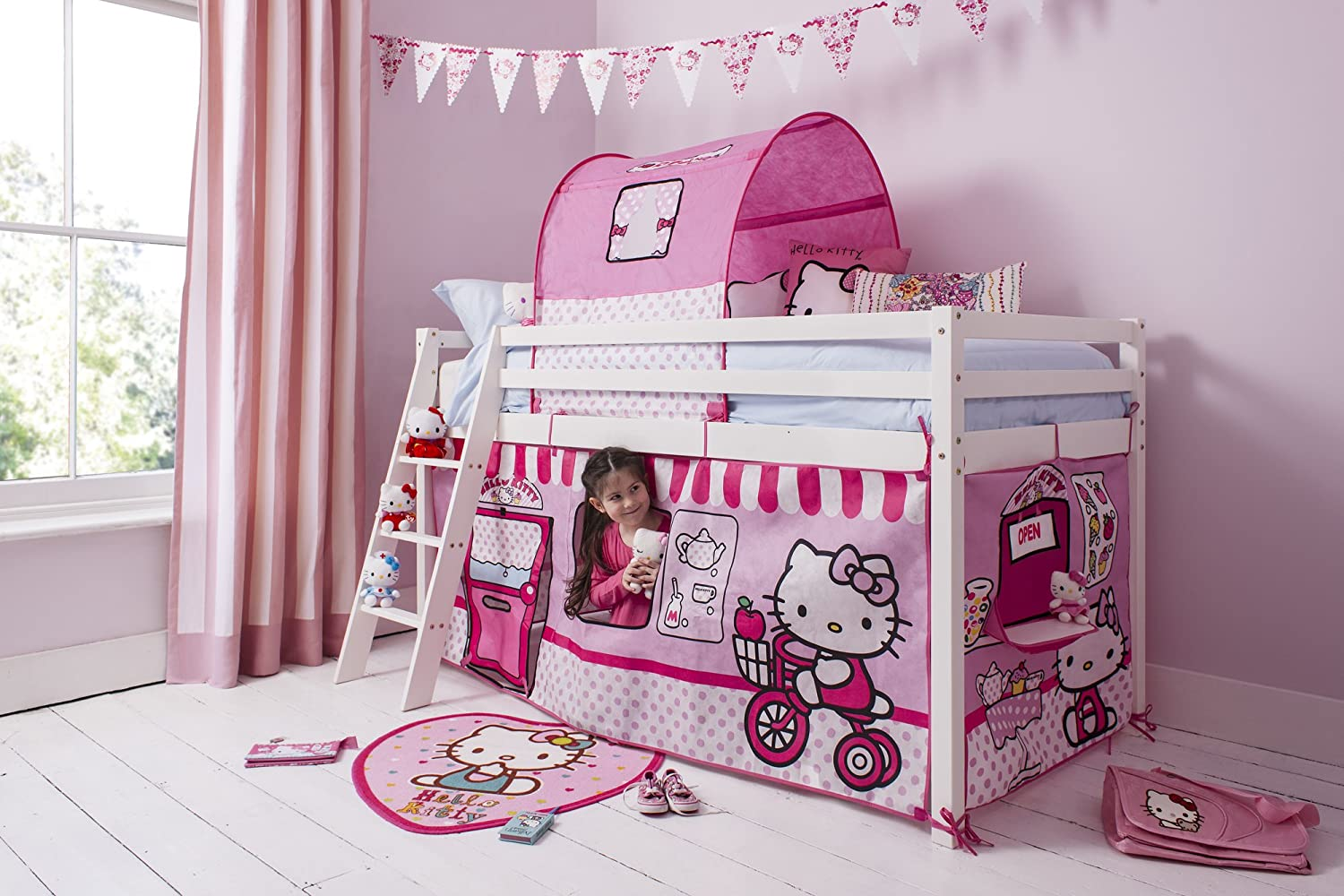 Noa and Nani - Midsleeper Cabin Bed with Hello Kitty Tent - (White)