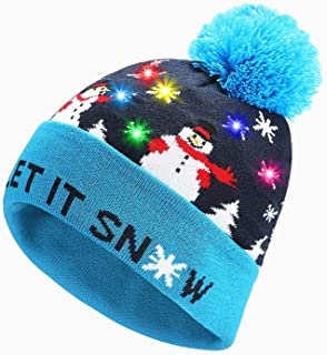 Eaterhom Light Up Beanie Hat Flashing Christmas LED Knit Hat Cap with 100hr Longer Battery Life for Holidays,Festivals, Parties and Celebrations, Unisex -Perfect Christmas