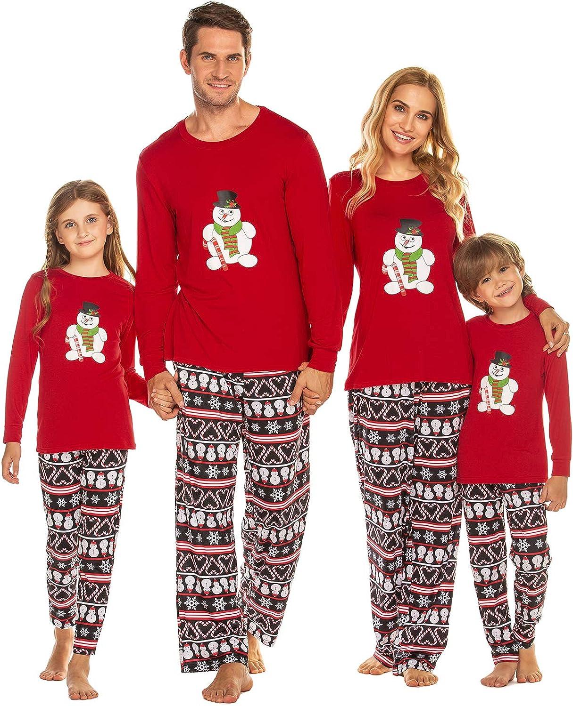 Ekouaer Matching Family Christmas Pajama Set Holiday Sleepwear PJs Lounge Sets Long Sleeve Pullover and Printed Pants S-XXL