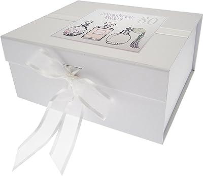White Cotton Cards – Caja de Recuerdo de 80º cumpleaños, pequeño, de Botes de Perfume, Color Blanco: Amazon.es: Hogar