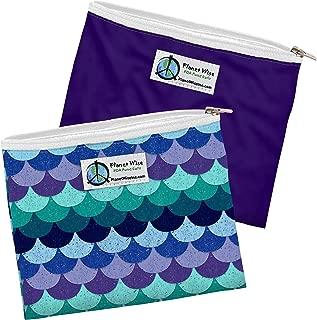 Planet Wise Reusable Zipper Sandwich Bags, 2-Pack, Mermaid Tail/Purple Poly