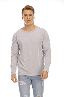 Loyomobak Mens Basic Solid Color Crew Neck Slim Long Sleeve Comfy T-Shirt Tee