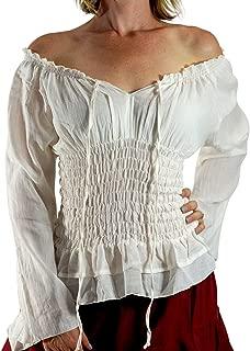 Long Sleeve Peasant Tops for Women - Renaissance Pirate Blouse Shirt
