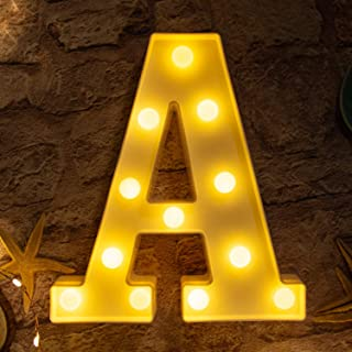 Brightown Decorative LED Marquee Letter Lights 26 Alphabet Light Up Letters Sign for Wedding Birthday Party Night Light Home Bar Decoration Battery Operated (A)
