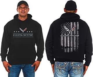 JH DESIGN GROUP Mens Chevy Corvette Hoodie Distressed American Flag 2-Sided Sweatshirt