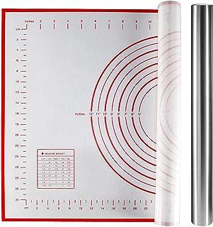 Yosemy Tapis de Cuisson en Silicone avec Rouleau à pâtisserie en Acier Inoxydable 40 x 3,8 cm, Grand 60 x 40 cm,Rouge