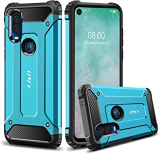 J&D Case Compatible for Moto One Vision Case, Heavy Duty [ArmorBox] [Dual Layer] Shock Resistant Hybrid Protective Rugged Case for Motorola Moto One Vision Case - Blue