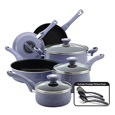 Farberware New Traditions Nonstick Cookware Pots and Pans Set, 12-Piece, Lavender Speckle