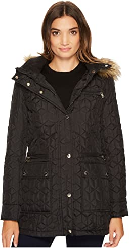 Quilted Jacket with Fur Trimmed Hood