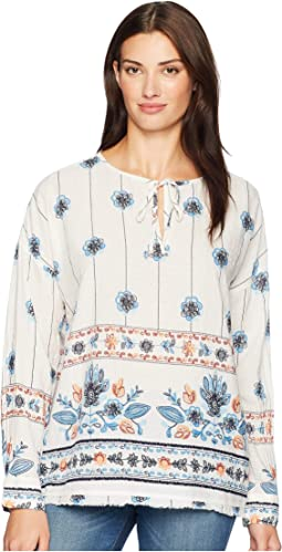 Floral Print Long Sleeve Pullover with Fringed Hem