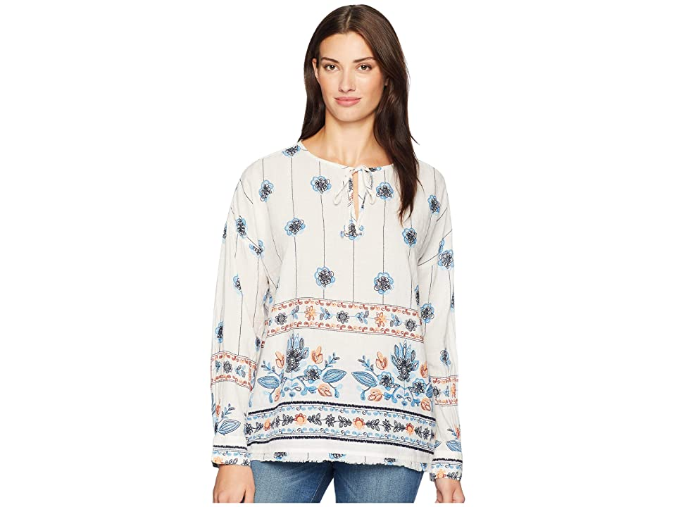 Dylan by True Grit Floral Print Long Sleeve Pullover with Fringed Hem (White) Women's Long Sleeve Pullover