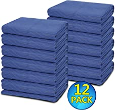 12 Moving Packing Blankets - 80 x 72 Inches (35 lb/dz) Heavy Duty Moving Pads for Protecting Furniture Professional Quilted Shipping Furniture Pads
