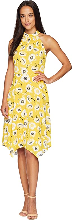 Adrianna Papell Graphic Floral with Hanky Hem Dress