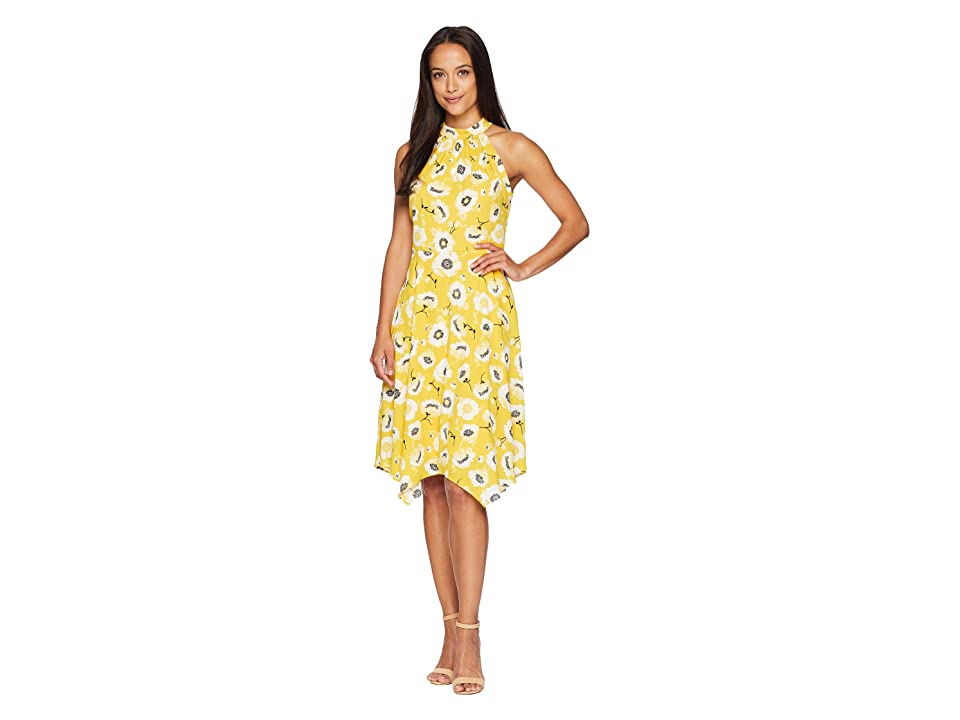 Adrianna Papell Graphic Floral with Hanky Hem Dress (Yellow Multi) Women