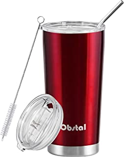Obstal Stainless Steel Insulated Tumbler - Double Wall Vacuum Travel Mug for Coffee with Straw, Slider Lid, Cleaning Brush (20 oz, Burgundy)