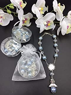 12 Pcs Baptism Party Favors Blue plated Bracelets in individual acrylic Boxes Wedding Favors, Quinceanera Favors With Organza Bags