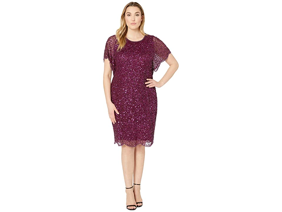 Adrianna Papell Plus Size Flutter Sleeve Beaded Cocktail Dress with Pearl Edge Detail (Cabernet) Women