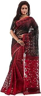 SareesofBengal Women's CottonSilk Handloom Jamdani Dhakai Saree Red And Black