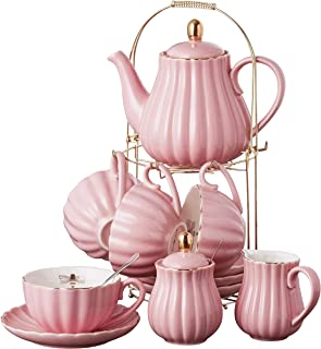 Jusalpha Fine China Pink Coffee Cup/Teacup Set, 7 OZ Cups& Saucer Service for 4, with Teapot-Sugar Bowl-Cream Pitcher Teaspoons and tea strainer for Tea/Coffee, 17-Pieces (TW Full set)