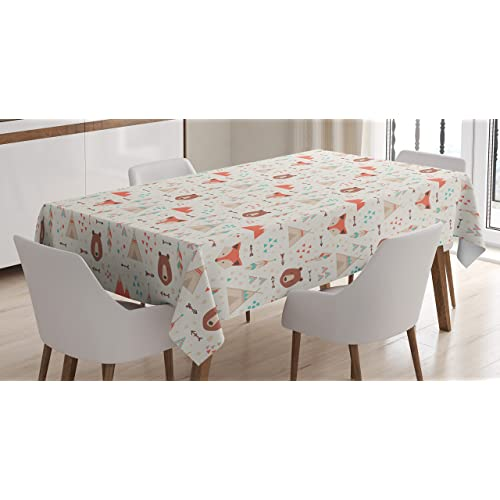 18ec4c5dac Ambesonne Tribal Tablecloth, Cute Ethnic Primitive Fox Arrows Bear Lodge  Houses Feather Graphic, Dining
