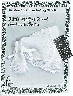 Thomas Ferguson Irish Linen - Baby`s Traditional Wedding Bonnet and Handkerchief with Lace Edge, White