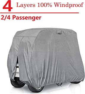 RVMasking Golf Cart Cover Extra-Thick 4-ply for 2/4 Passenger Yamaha, Club Car, EZ Go - Heavy Duty Waterproof Golf Cart Covers with Rear Zipper