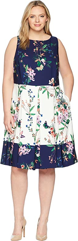 Plus Size Scuba Fit-and-Flare Dress