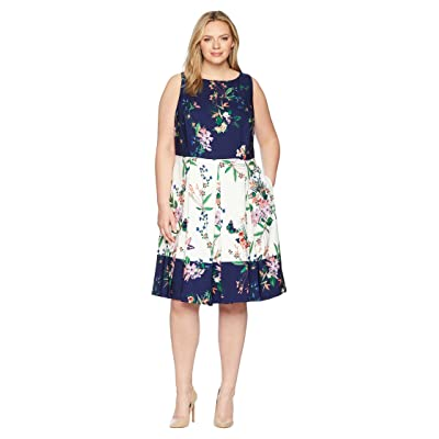 Tahari by ASL Plus Size Scuba Fit-and-Flare Dress (Ivory/Navy/Coral) Women