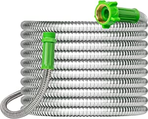 YANWOO Stainless Steel Garden Hose - 10FT Flexible Durable Lightweight Water Hose with Plastic Fittings, Easy to Use & Store (10 feet)
