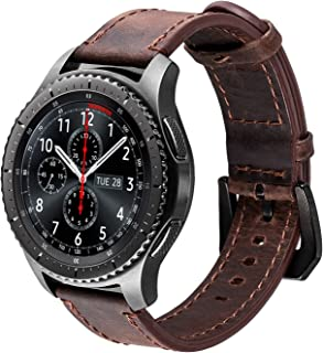 iBazal Gear S3 Watch Band 46mm, Gear S3 Frontier/Classic Bands with Black Clasp 22mm Genuine Leather Replacement Strap for Samsung Gear S3 Frontier/Classic SM-R760 / Pebble Time-Coffee+Black Clasp