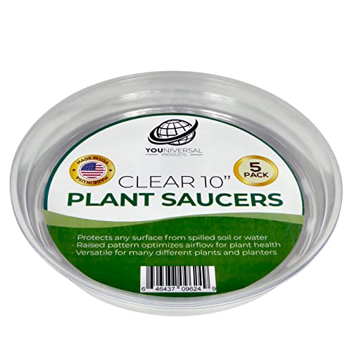 YOUniversal Products 5 Pack of 10 Inch Clear Plastic Plant Saucers for Indoor and Outdoor Plants