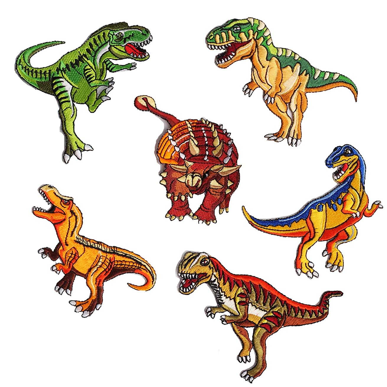 Juland 6 PCS Dinosaur Embroidered Patches Self Adhesive Embroidered Custom Backpack Patches for Men, Women, Boys, Girls, Kids