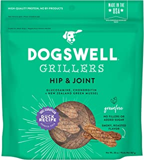 DOGSWELL 100% Grilled Meat Treats for Dogs, Made in The USA with Glucosamine, Chondroitin & New Zealand Green Mussel for Healthy Hips