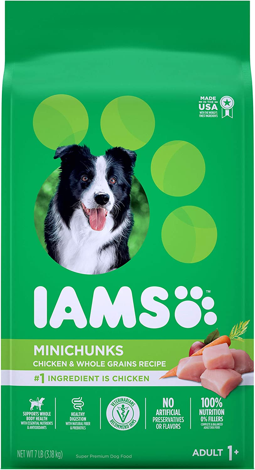 IAMS PROACTIVE HEALTH Adult Minichunks Small Kibble High Protein Dry Dog Food with Real Chicken, 7 lb. Bag: Pet Supplies