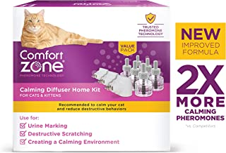Comfort Zone Calming Diffuser Kit, New 2X Pheromones for Cats Formula, 3 Diffusers & 6 Refills