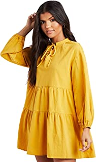 Tiered Long Sleeves Smock Mini Women's Dress with Tie-Up Neck