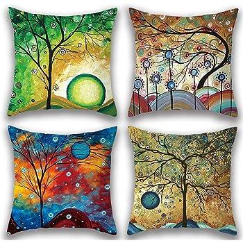 Freeas Kissenbezug 45 x 45 cm, Baumwolle Leinen Abstrakter Baum Kissenhülle Taille Wurf Kopfkissenbezug für Zuhause und Sofa, Schlafzimmer Dekoration, 4 Stück