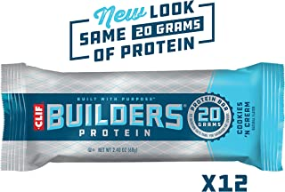 CLIF BUILDERS - Protein Bars - Cookies and Cream - (2.4 Ounce Gluten Free Bars, 12 Count) (Packaging and Formula May Vary)