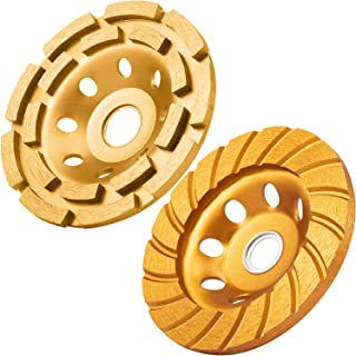 2 Pieces 4-1/2 Inch Grinding Wheel Set Includes 644030 Double Row Diamond Cup Grinding Wheel and 644052 Turbo Diamond Cup Wheel for Angle Grinder Polishing Cleaning Stone Cement Marble Rock