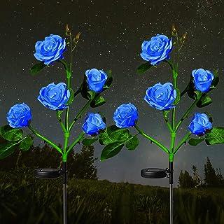 HeyMate Solar Garden Lights Outdoor - 2 Pack Solar Rose Flower Lights Waterproof with 10 Rose Flowers for Garden, Patio, Backyard, Pathway Decoration, Blue