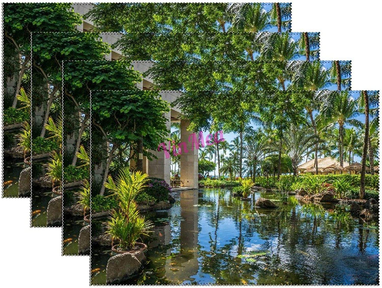 Placemats of 4 Finally popular Popular standard brand Pcs Heat-Resistant Natur Seaside Resort Palm Lake