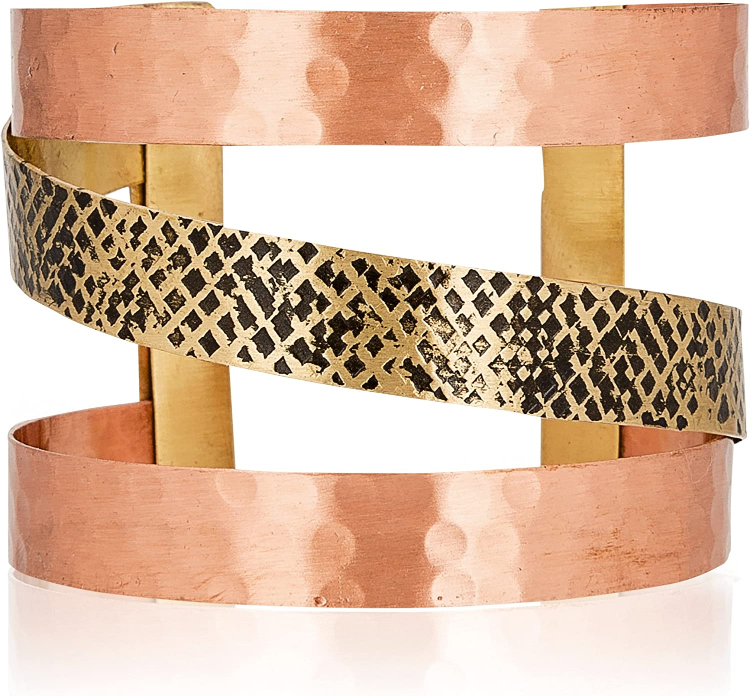 SPUNKYsoul 2 Toned Copper & Gold Metal Bangle Cuff Bracelet for Women Gold and Copper for Women Collection