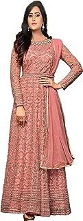 Ethnic Yard Womens Nylon Net Anarkali Embroidered Semi Stitched Salwar Suit